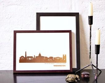 WASHINGTON pink-gold-foil Poster, WASHINGTON City Skyline, modern Washington cityscape art work, red-gold Washington Print, love Washington
