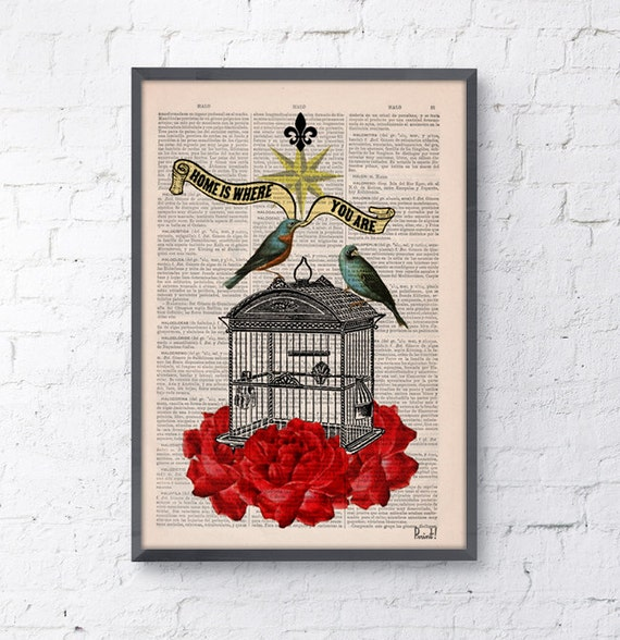 Blue birds cage with roses Upcycled book print on pages dictionary print collage  Print Vintage Dictionary Book ANI189b