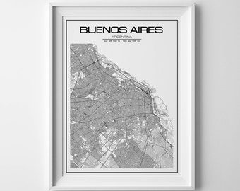 Buenos Aires map, city map, buenos aires poster, buenos aires print, argentina map, buenos aires art, map of buenos aires, south america map