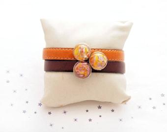 purple orange leather Cuff Bracelet passing Lampwork Glass cabochon