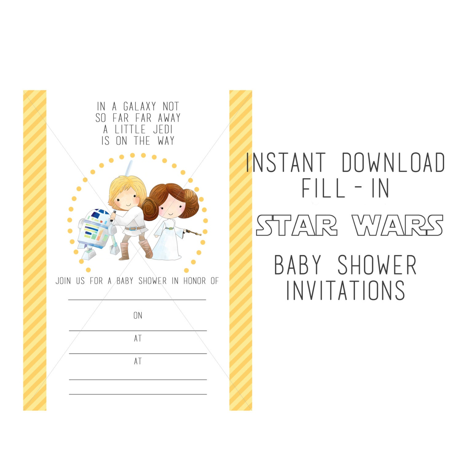 Star Wars Baby Shower Invitation Fill-in Instant Download