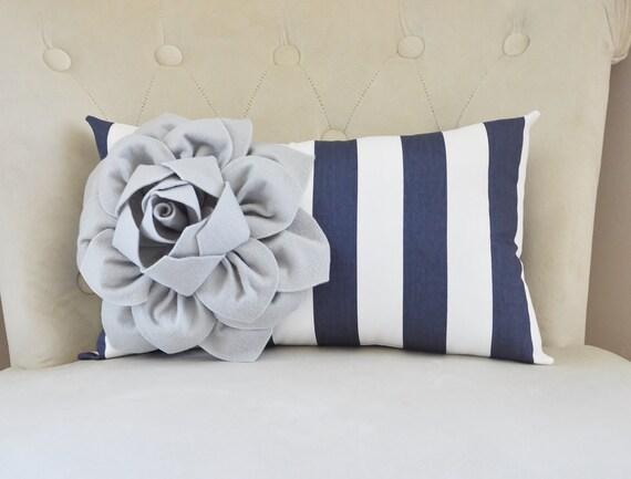 Sophisticated Modern Nautical Nursery: Personalized Flower Dahlia Pillow Modern Nautical Nursery