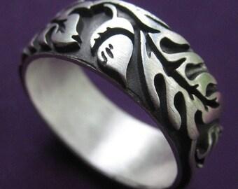 Extra Wide Silver Oak Ring
