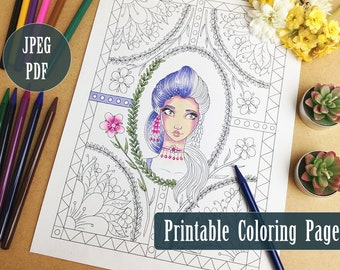 Blossom Girl Printable Coloring Page PDF,  Spring Floral Illustration Line Art to Color, Digital Download Coloring Pages by Windy Iris