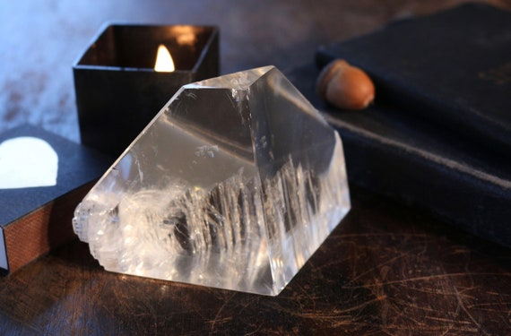 Grade A Optical Calcite Iceberg 312g, Grade AAA Iceland Spar, Polished Clear Calcite, Crystal Clear Calcite, Standing Optical Calcite