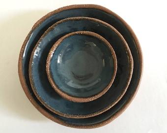 Ceramic Nesting Bowl Set, 3 Dark Blue Stoneware Pottery Bowls