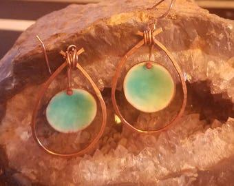 medium copper teardrop earrings