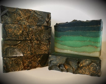 Malachite soap, handmade soap, artisan soap, cold processed soap