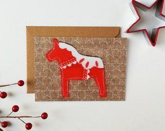 Printed Dala Horse Christmas Card Blank Inside