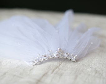 The Christina First Communion Veil in white with beaded headband