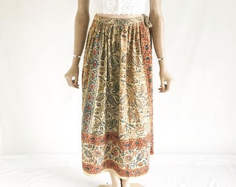 Vintage 70's India Cotton Skirt. Size Small