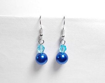 Pearl dangle earrings cobalt blue, light blue glass