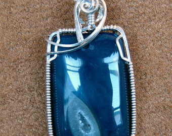 Argentium Sterling Silver Dark Blue Druzy Pendant
