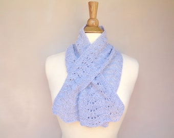 Pull Through Keyhole Scarf, Light Gray, 100% Cashmere, Hand Knit Neck Warmer, Bow Scarflette, Womens Luxury Scarf, Soft and Fluffy