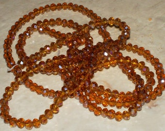 42 Faceted Amber Color Crystal Glass Rondells - 4x3MM