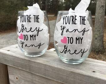 Grey's Anatomy- You're the Yang to my Grey Stemless Wine Glass/ Mug