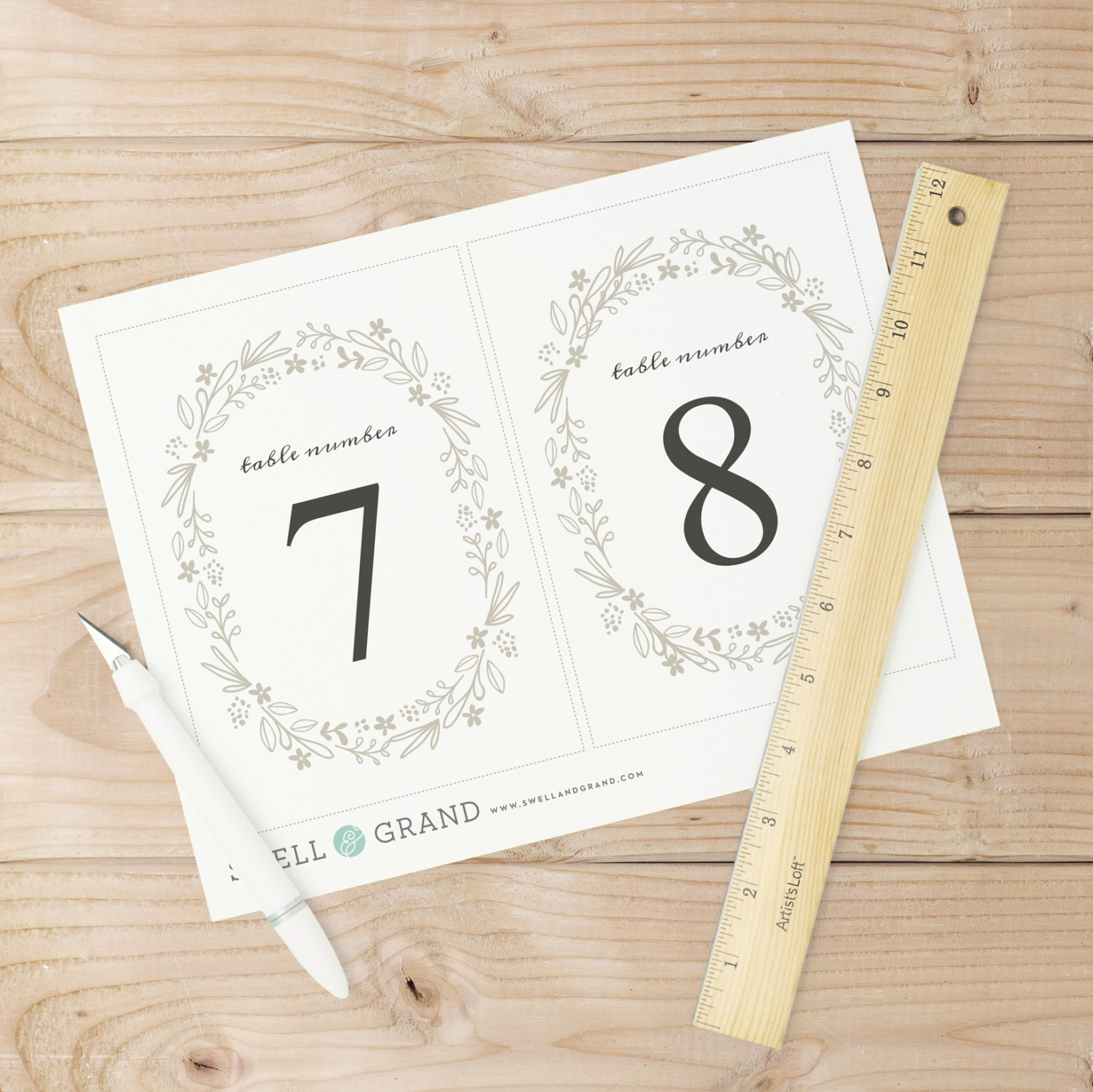 Printable table numbers table number template floral wreath printable table numbers table number template floral wreath flat 5x7 editable colors mac or pc word pages instant download spiritdancerdesigns Choice Image