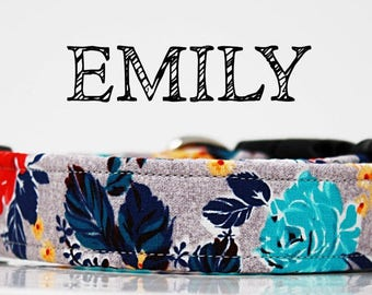 Emily - Floral Grey, Blue, Yellow, Teal, Red  Handmade Collar