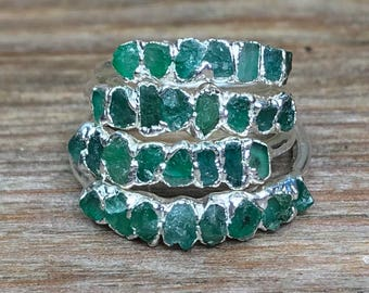 Raw emerald ring / Emerald ring band / Raw gemstone ring / Real emerald ring / Emerald engagement ring / May birthstone / stacking ring