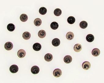 Set of 24 Victorian black glass buttons, small antique dress buttons