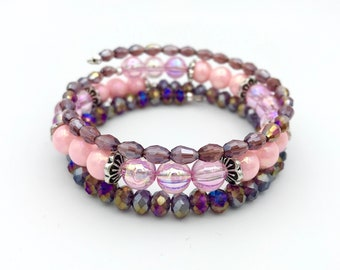 Wrap bracelet in purple-pink shades with Czech glass beads