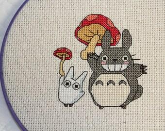 PATTERN: Totoro and Mushroom Cross Stitch