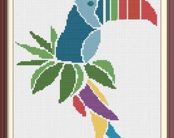 Parrot Modern Cross Stitch Pattern PDF Chart Digital Download Bright Colorful Exotic Bird