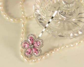 Pink Hair Pin Bridal Hair Pins Pink Flower Clip Cubic Zircon Head Pins Floral Bridal Jewelry Clear Crystal Head Piece Rhinestone Bobby Pins
