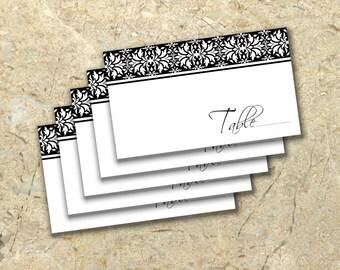 DIY elegant damask Wedding Place Cards