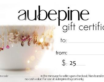 aubepine 25 Dollar Gift Certificate