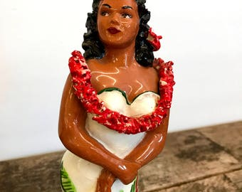 Hawaiian Julene Figurine Native Girl 1950s Ceramic Porcelain Statue Hula Girl Girl in Lei Handmade by Julene Mechler Honolulu Hawaii