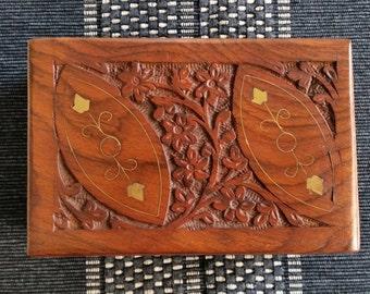 Vintage Wooden trinket box keepsake jewellery box Indian box ornate with brass