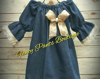 Denim and Lace Dress, Denim and Lace Girls Dress, Denim and Lace Baby Dress, Denim and Lace Flower Girl Dress, 3/4 Sleeve Dress, Flower Girl