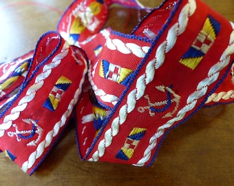Vintage Trim Embroidered Red Anchors Rope Boating Seafaring