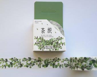 green leaf washi tape, 15 mm x 7 m, MT washi, green washi, leaf washi, scrapbooking, journal, planner washi, green washi,