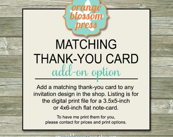 Matching Thank You Card Add-On Option - Printable File
