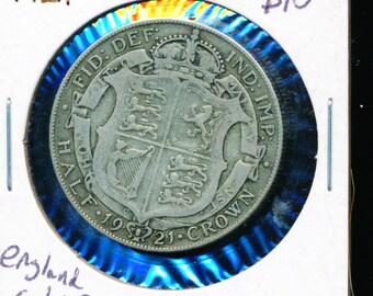 1921 England Silver Half Crown