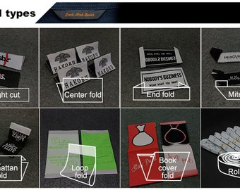 300 custom woven clothing labels, custom fabric labels, for text only