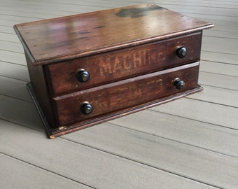 Sewing Cabinet Two Drawer Display Walnut Sewing Office Storage