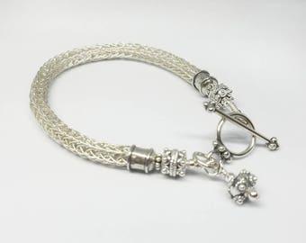 Viking Knit Bracelet~Fine 99.9 Pure Silver Viking Knit Cuff~Handwoven Fine Silver Bracelet~OOAK Artisan Statement Bracelet~Gift for Her