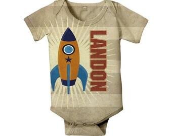 Rocket Baby Boy Bodysuit - Personalized, Custom One Piece, Boy's Onepiece Baby Clothing