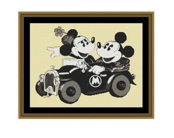 Vintage Mickey Mouse Cross Stitch, Mickey and Minnie, Disney Cross Stitch PDF Instant Download