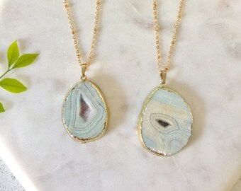Multi colour druzy agate geode pendant necklace | natural stone pendant necklace | agate necklace | druzy agate geode necklace | Green Agate