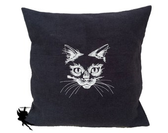 Meow // Linen Cushion Linen Pillow Cat Pillow Throw pillow glow-in-the-dark pillow