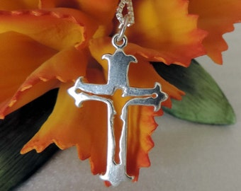 Unique Cross Crucifix  Necklace Sterling Silver with Chain