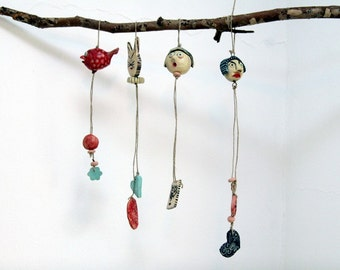 Ceramic Miniature on String--Holiday gift- red christmas gift