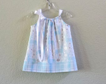 Baby Girls Reindeer Dress and Bloomers - Sky Blue Reindeer & Silver Snowflakes - Blue and White with Plaid - Size Nb, 3m, 6m, 9m, 12m or 18m