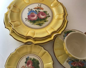 Rare Vintage Majolica Italian Bassano Nove Handpainted 5 PC Place Setting Dinnerware Set Made In & Italian dinnerware | Etsy