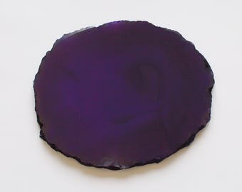 1 Large Purple Dyed Agate Crystal Quartz Natural Geode Mineral Rock Stone Slice Slab