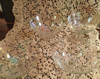 Vintage Set of 4  IRRIDESCENT Champagne or Sherbet STEMWARE  GLASSES